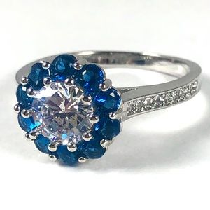 Blue Sapphire Diamond Simulated CZ 925 silver ring